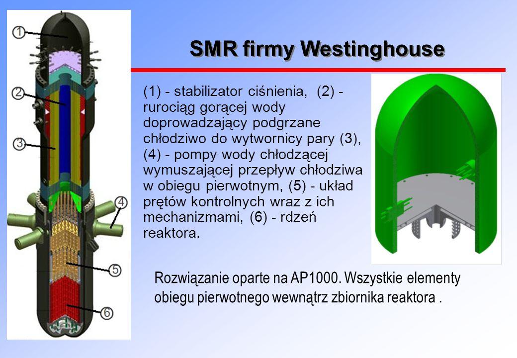 SMR firmy Westinghouse (1) - stabilizator ciśnienia, (2) - rurociąg gorącej wody doprowadzający podgrzane chłodziwo do wytwornicy pary (3), (4) - pompy wody chłodzącej wymuszającej przepływ chłodziwa w obiegu pierwotnym, (5) - układ prętów kontrolnych wraz z ich mechanizmami, (6) - rdzeń reaktora.
