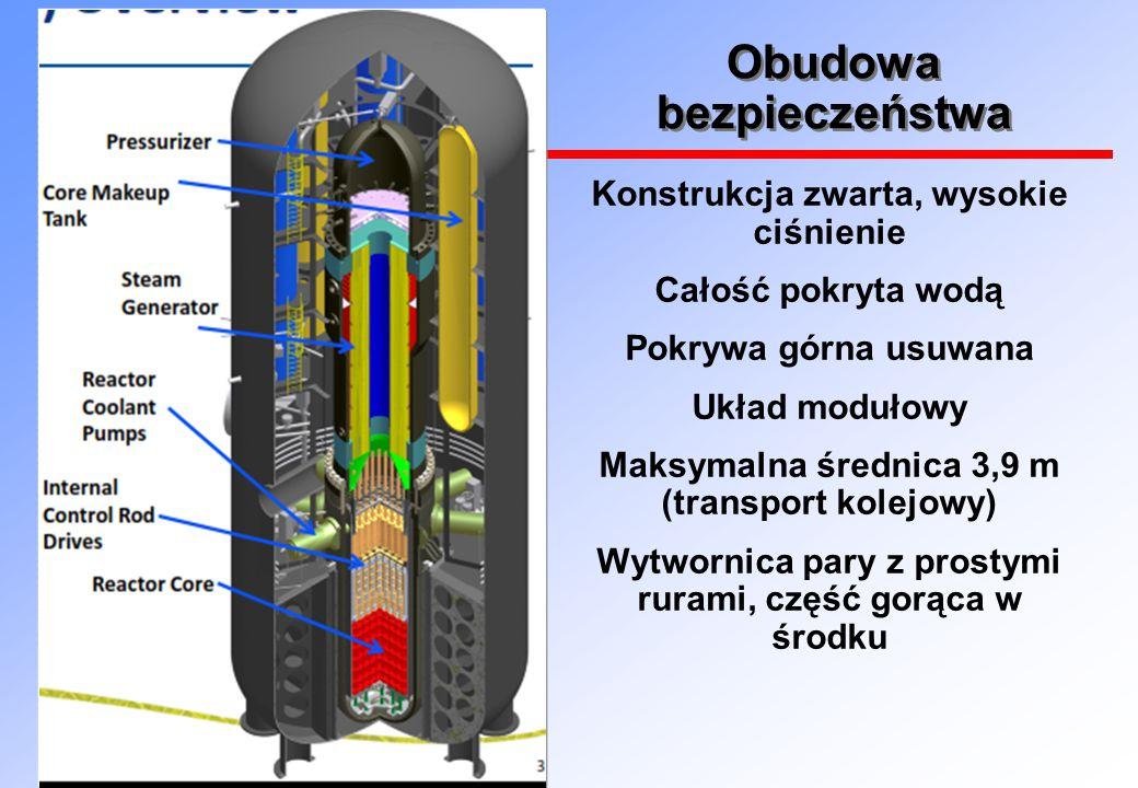 Obudowa bezpieczeństwa Konstrukcja zwarta, wysokie ciśnienie Całość pokryta wodą Pokrywa górna usuwana Układ modułowy Maksymalna średnica 3,9 m (transport kolejowy) Wytwornica pary z prostymi rurami, część gorąca w środku
