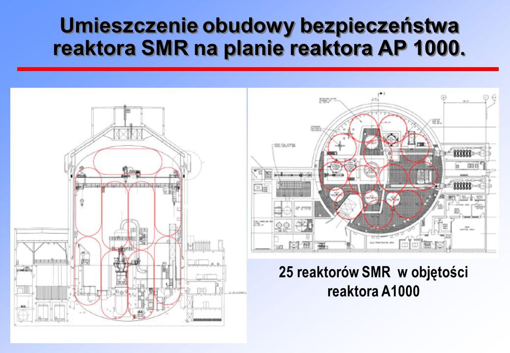 Umieszczenie obudowy bezpieczeństwa reaktora SMR na planie reaktora AP 1000. 25 reaktorów SMR w objętości reaktora A1000