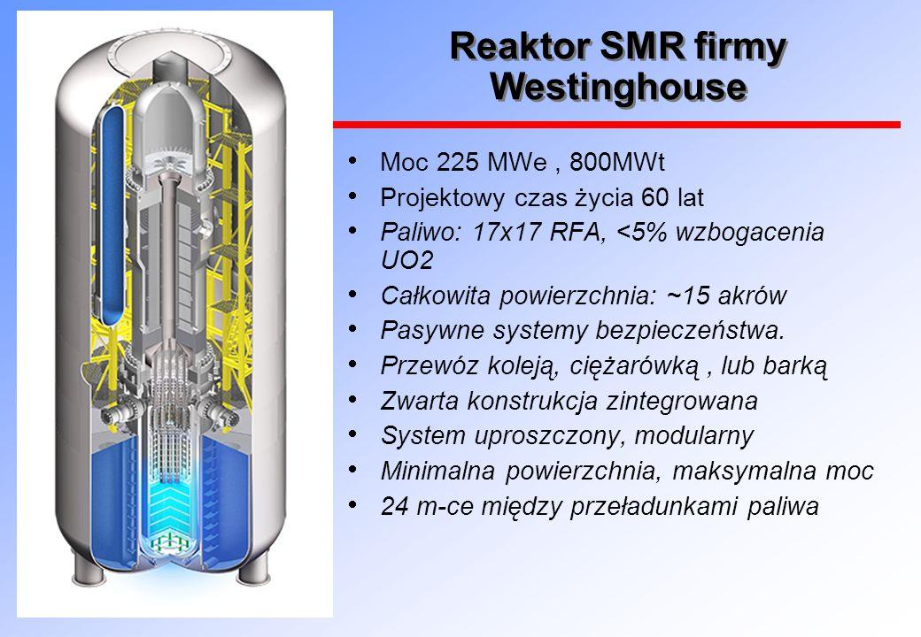 Reaktor SMR firmy Westinghouse  Moc 225 MWe, 800MWt  Projektowy czas życia 60 lat  Paliwo: 17x17 RFA, <5% wzbogacenia UO2  Całkowita powierzchnia: