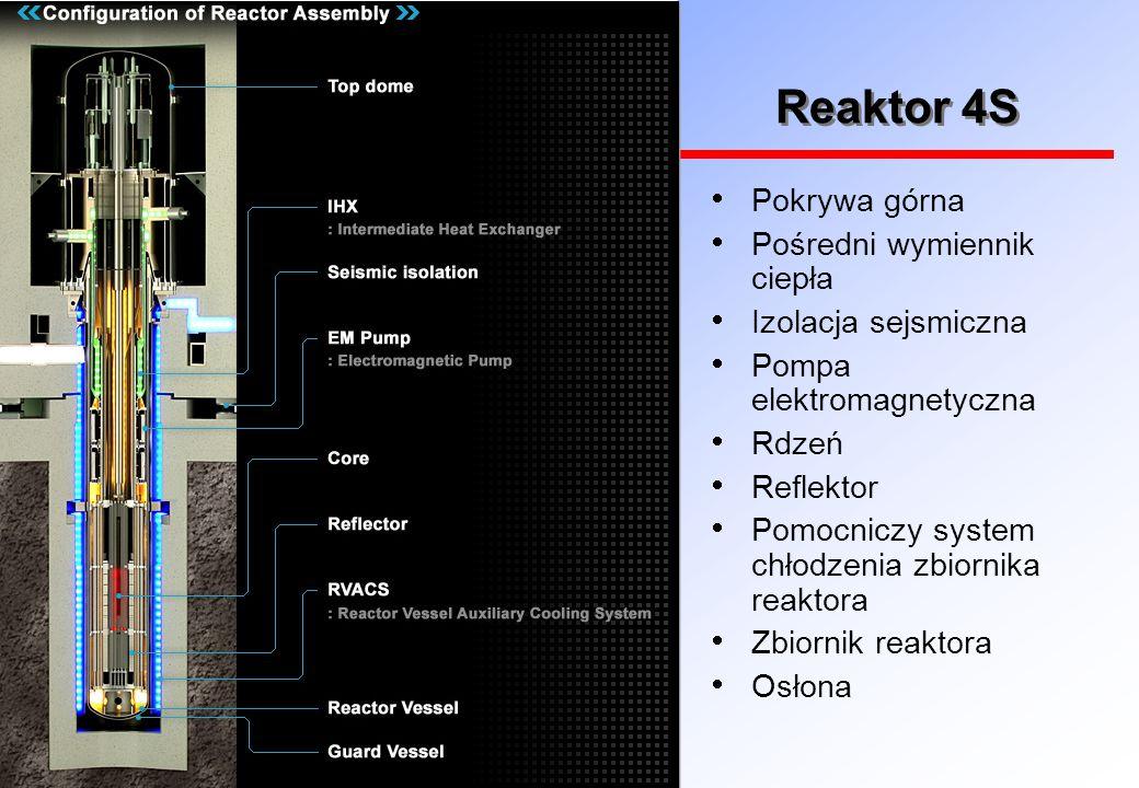 Reaktor 4S  Pokrywa górna  Pośredni wymiennik ciepła  Izolacja sejsmiczna  Pompa elektromagnetyczna  Rdzeń  Reflektor  Pomocniczy system chłodzenia zbiornika reaktora  Zbiornik reaktora  Osłona