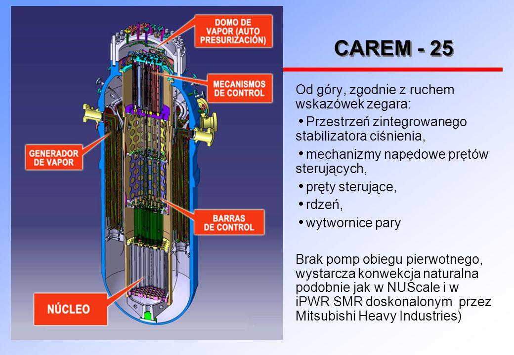 CAREM - 25 Od góry, zgodnie z ruchem wskazówek zegara:  Przestrzeń zintegrowanego stabilizatora ciśnienia,  mechanizmy napędowe prętów sterujących,  pręty sterujące,  rdzeń,  wytwornice pary Brak pomp obiegu pierwotnego, wystarcza konwekcja naturalna podobnie jak w NUScale i w iPWR SMR doskonalonym przez Mitsubishi Heavy Industries)