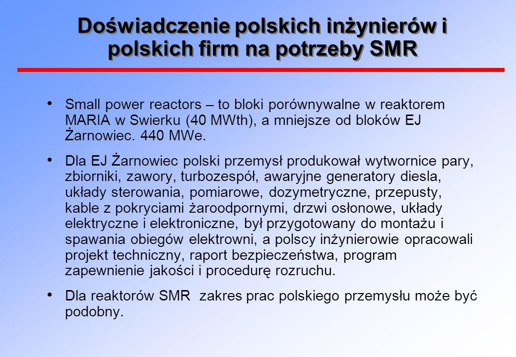 Doświadczenie polskich inżynierów i polskich firm na potrzeby SMR  Small power reactors – to bloki porównywalne w reaktorem MARIA w Swierku (40 MWth)