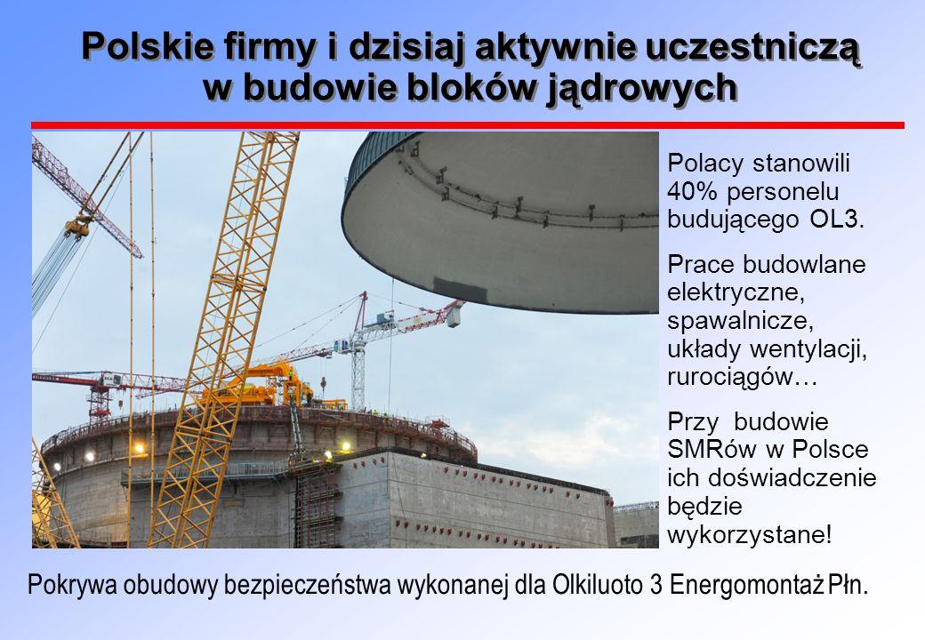 Polskie firmy i dzisiaj aktywnie uczestniczą w budowie bloków jądrowych Polacy stanowili 40% personelu budującego OL3. Prace budowlane elektryczne, sp