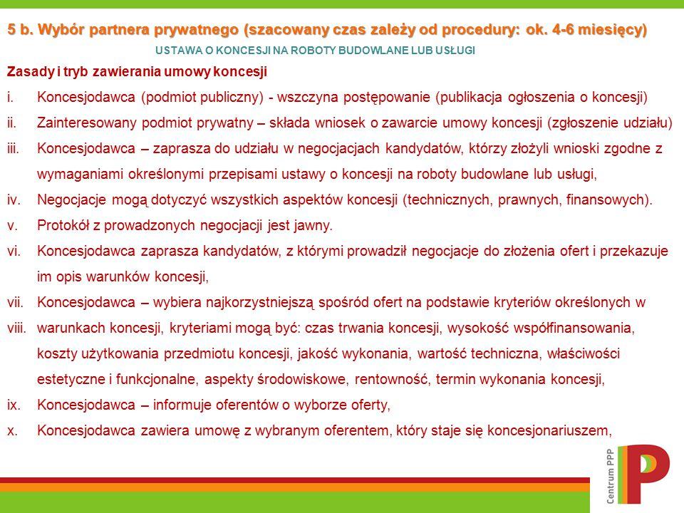 5 b. Wybór partnera prywatnego (szacowany czas zależy od procedury: ok. 4-6 miesięcy) USTAWA O KONCESJI NA ROBOTY BUDOWLANE LUB USŁUGI Zasady i tryb z