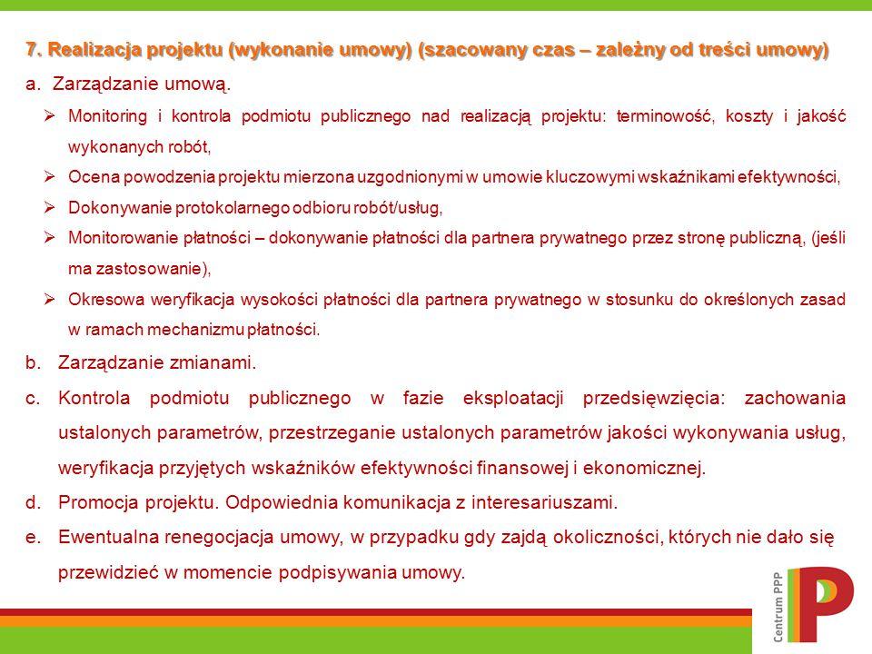 7. Realizacja projektu (wykonanie umowy) (szacowany czas – zależny od treści umowy) a. Zarządzanie umową.  Monitoring i kontrola podmiotu publicznego