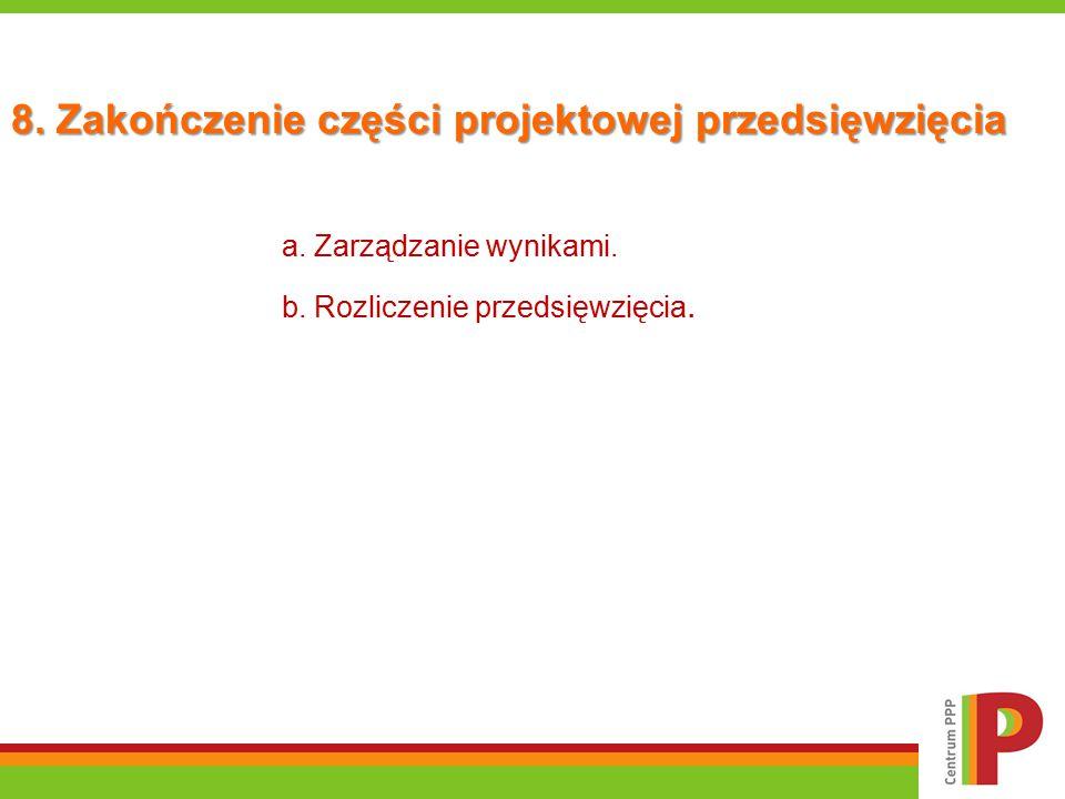 8. Zakończenie części projektowej przedsięwzięcia a. Zarządzanie wynikami. b. Rozliczenie przedsięwzięcia.