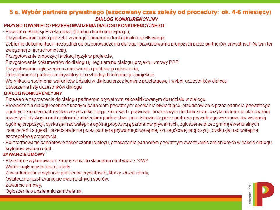 5 a. Wybór partnera prywatnego (szacowany czas zależy od procedury: ok. 4-6 miesięcy) DIALOG KONKURENCYJNY PRZYGOTOWANIE DO PRZEPROWADZENIA DIALOGU KO