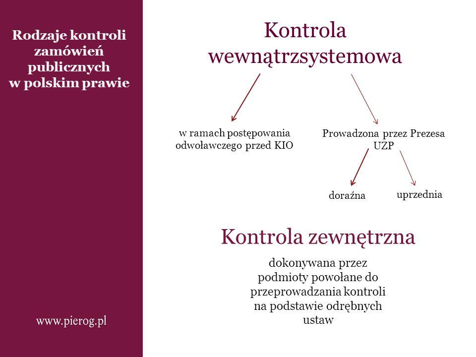 Rodzaje kontroli zamówień publicznych w polskim prawie Kontrola wewnątrzsystemowa Kontrola zewnętrzna Prowadzona przez Prezesa UZP dokonywana przez po