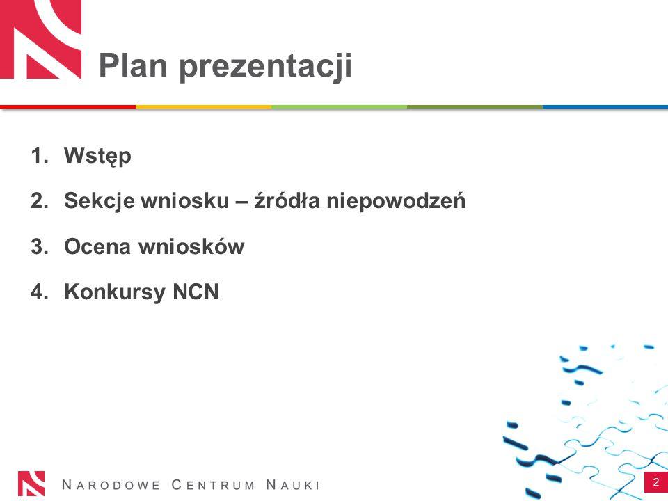 Plan prezentacji 2 1.Wstęp 2.Sekcje wniosku – źródła niepowodzeń 3.Ocena wniosków 4.Konkursy NCN