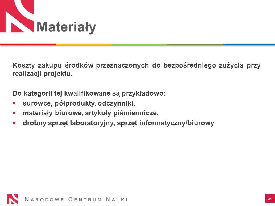24 Materiały Koszty zakupu środków przeznaczonych do bezpośredniego zużycia przy realizacji projektu. Do kategorii tej kwalifikowane są przykładowo: 