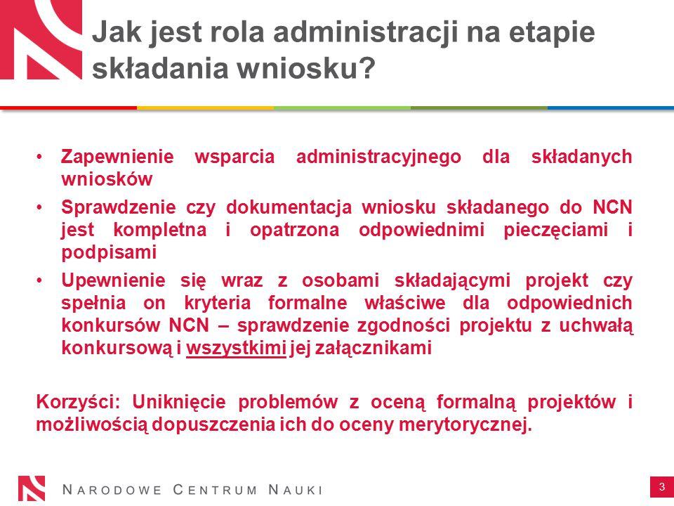 Jak jest rola administracji na etapie składania wniosku? Zapewnienie wsparcia administracyjnego dla składanych wniosków Sprawdzenie czy dokumentacja w