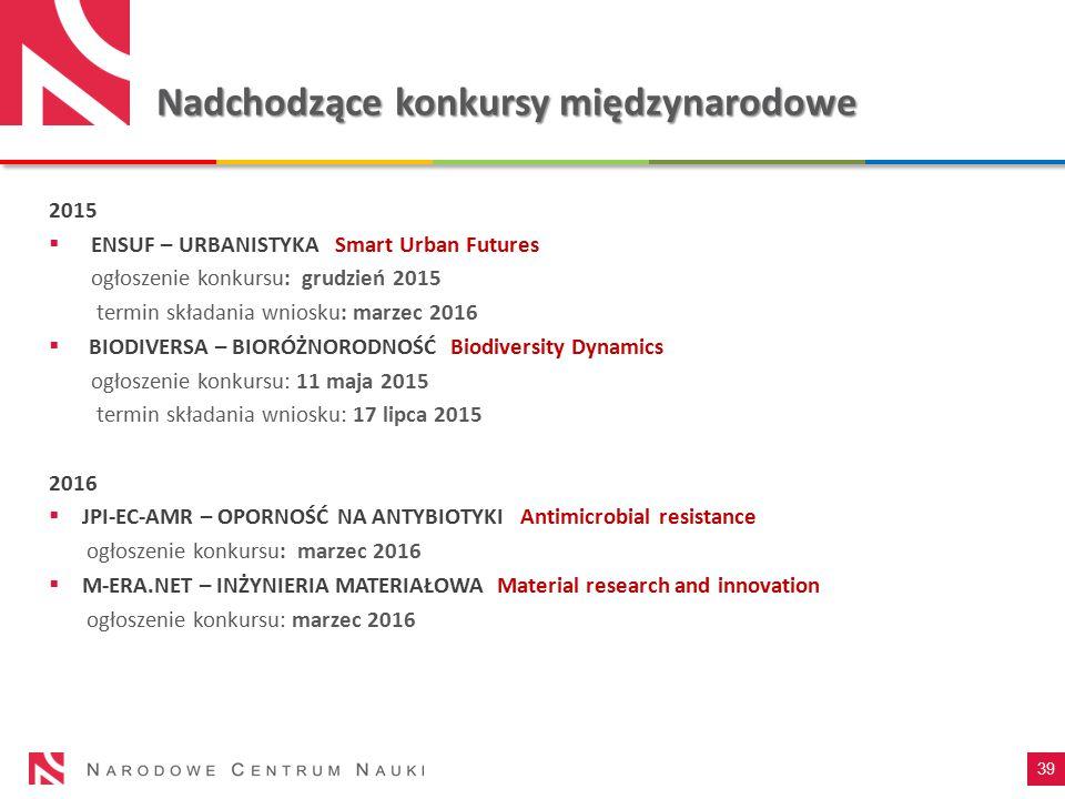 Nadchodzące konkursymiędzynarodowe Nadchodzące konkursy międzynarodowe 2015  ENSUF – URBANISTYKA Smart Urban Futures ogłoszenie konkursu: grudzień 20