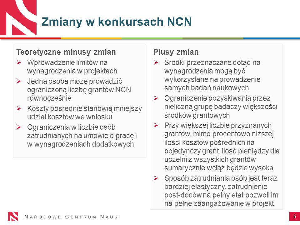 5 Teoretyczne minusy zmian  Wprowadzenie limitów na wynagrodzenia w projektach  Jedna osoba może prowadzić ograniczoną liczbę grantów NCN równocześn