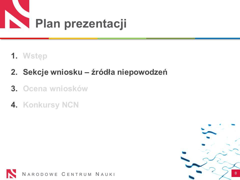 Plan prezentacji 8 1.Wstęp 2.Sekcje wniosku – źródła niepowodzeń 3.Ocena wniosków 4.Konkursy NCN
