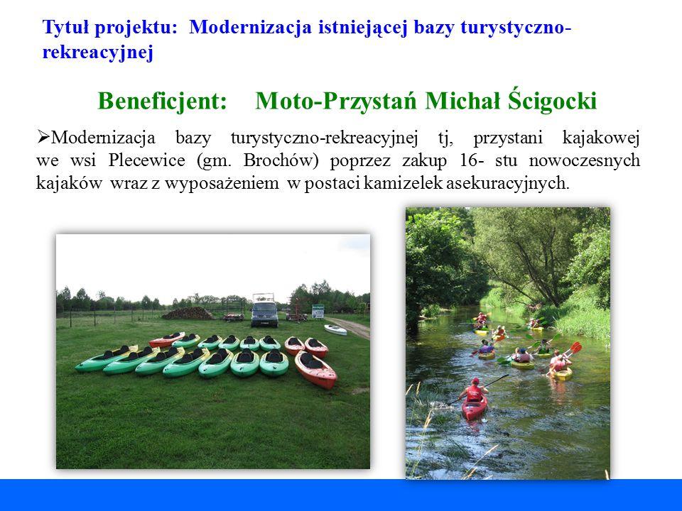 Tytuł projektu: Modernizacja istniejącej bazy turystyczno- rekreacyjnej Beneficjent: Moto-Przystań Michał Ścigocki  Modernizacja bazy turystyczno-rek