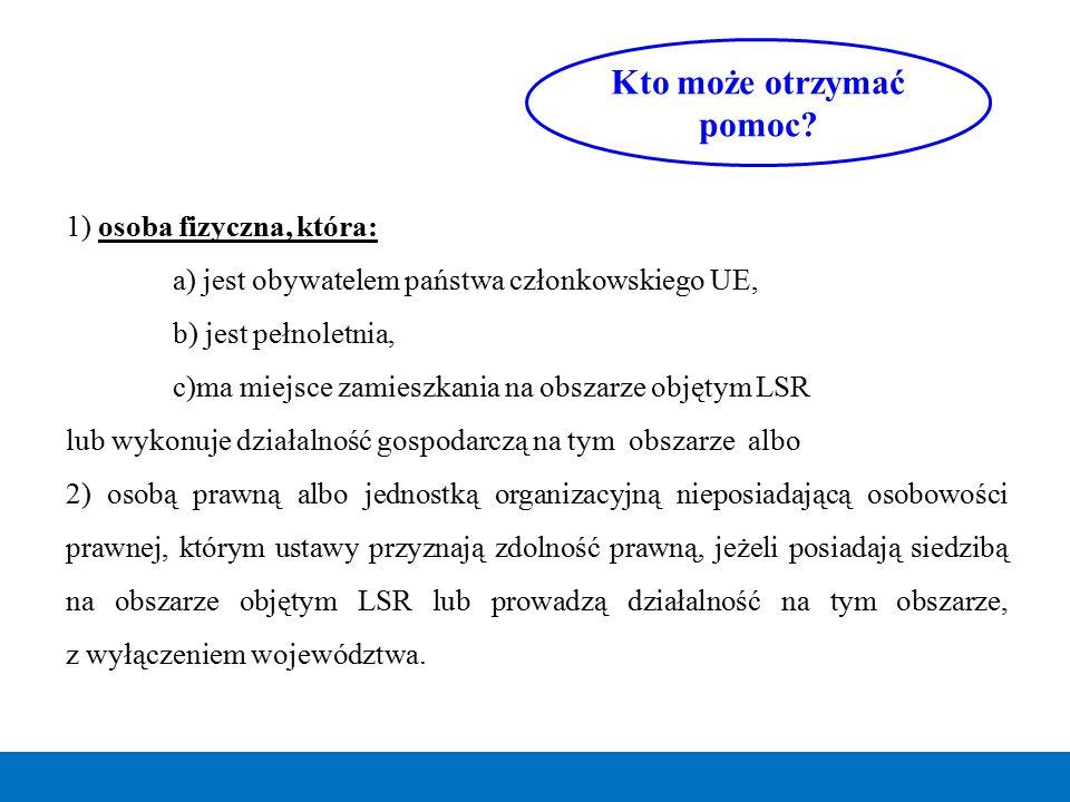1) osoba fizyczna, która: a) jest obywatelem państwa członkowskiego UE, b) jest pełnoletnia, c)ma miejsce zamieszkania na obszarze objętym LSR lub wyk