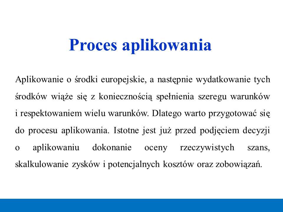 Proces aplikowania Aplikowanie o środki europejskie, a następnie wydatkowanie tych środków wiąże się z koniecznością spełnienia szeregu warunków i res