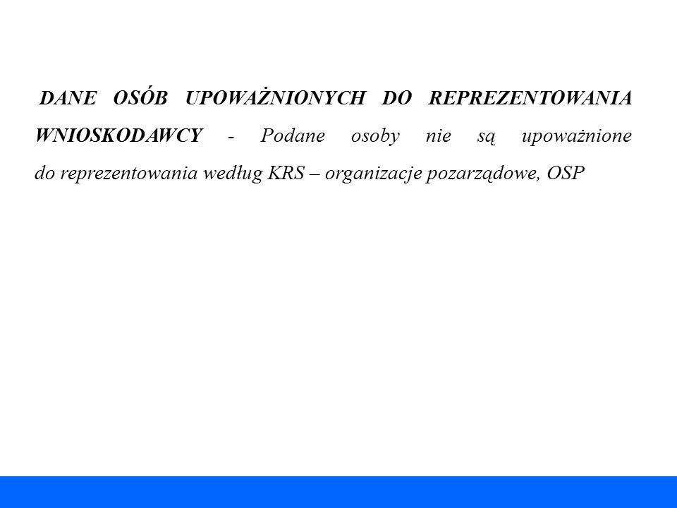 DANE OSÓB UPOWAŻNIONYCH DO REPREZENTOWANIA WNIOSKODAWCY - Podane osoby nie są upoważnione do reprezentowania według KRS – organizacje pozarządowe, OSP