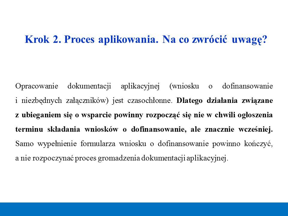 Krok 2. Proces aplikowania. Na co zwrócić uwagę? Opracowanie dokumentacji aplikacyjnej (wniosku o dofinansowanie i niezbędnych załączników) jest czaso