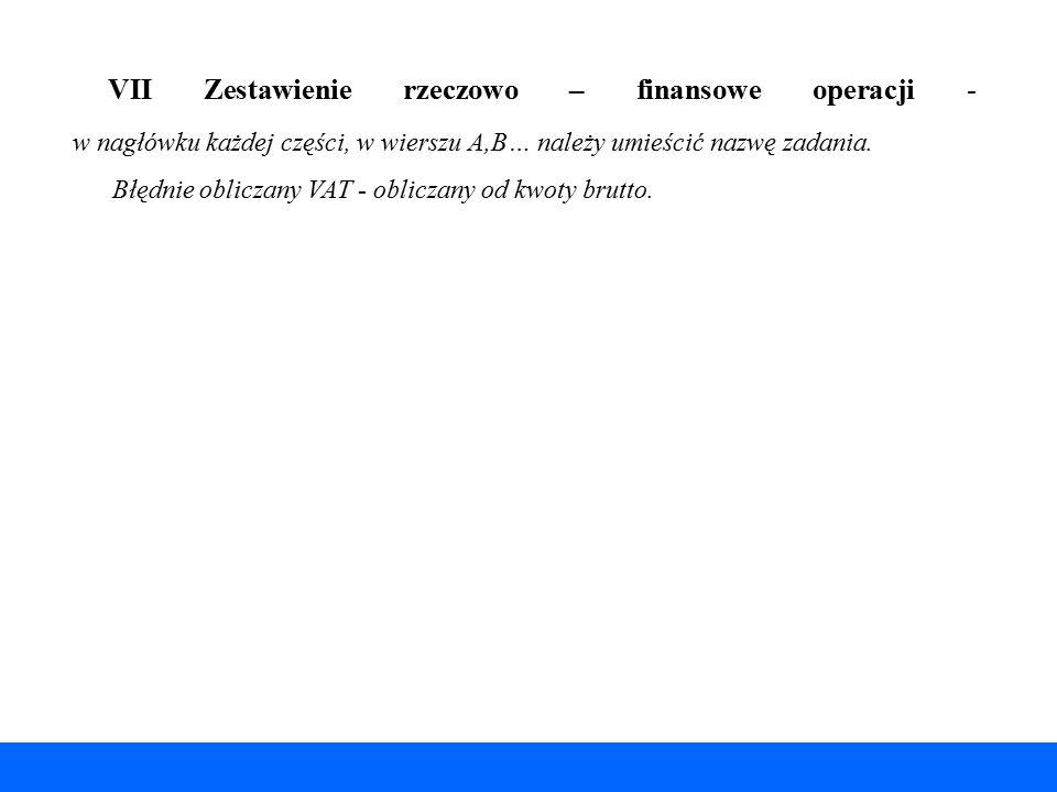 VII Zestawienie rzeczowo – finansowe operacji - w nagłówku każdej części, w wierszu A,B… należy umieścić nazwę zadania. Błędnie obliczany VAT - oblicz