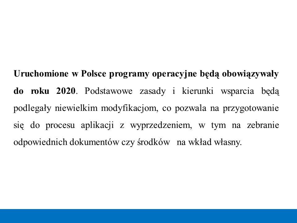 Uruchomione w Polsce programy operacyjne będą obowiązywały do roku 2020. Podstawowe zasady i kierunki wsparcia będą podlegały niewielkim modyfikacjom,