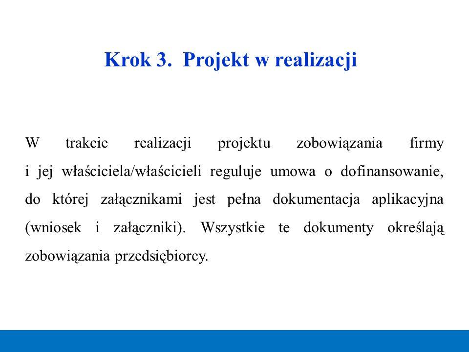 Krok 3. Projekt w realizacji W trakcie realizacji projektu zobowiązania firmy i jej właściciela/właścicieli reguluje umowa o dofinansowanie, do której