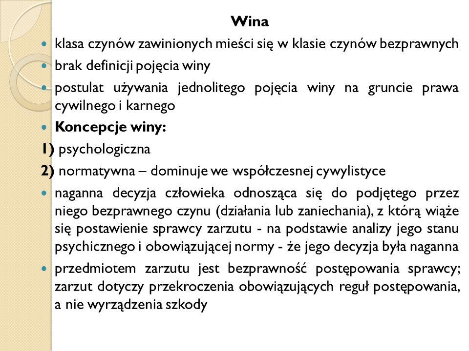 Wina klasa czynów zawinionych mieści się w klasie czynów bezprawnych brak definicji pojęcia winy postulat używania jednolitego pojęcia winy na gruncie