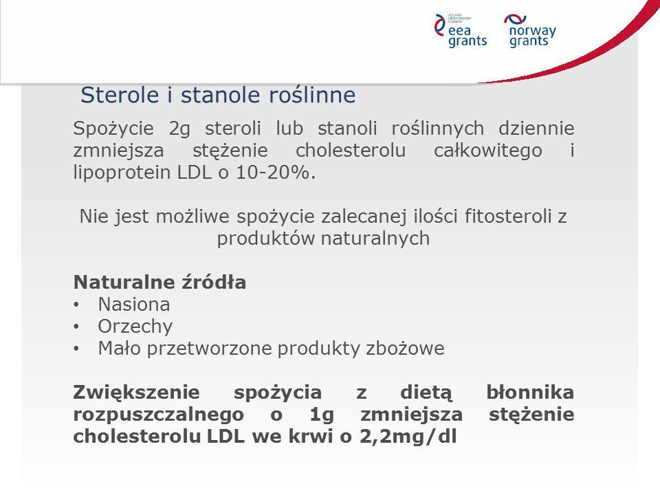 Spożycie 2g steroli lub stanoli roślinnych dziennie zmniejsza stężenie cholesterolu całkowitego i lipoprotein LDL o 10-20%. Nie jest możliwe spożycie