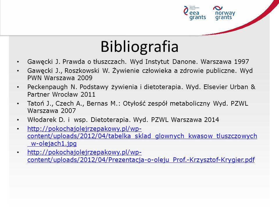 Bibliografia Gawęcki J. Prawda o tłuszczach. Wyd Instytut Danone. Warszawa 1997 Gawęcki J., Roszkowski W. Żywienie człowieka a zdrowie publiczne. Wyd