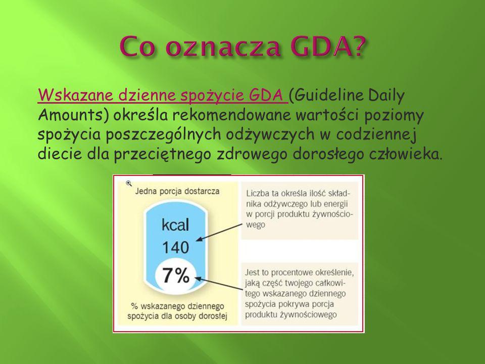 Wskazane dzienne spożycie GDA (Guideline Daily Amounts) określa rekomendowane wartości poziomy spożycia poszczególnych odżywczych w codziennej diecie
