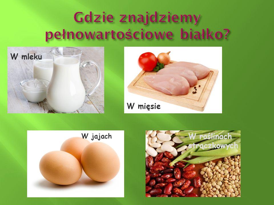 W mleku W mięsie W jajach W roślinach strączkowych