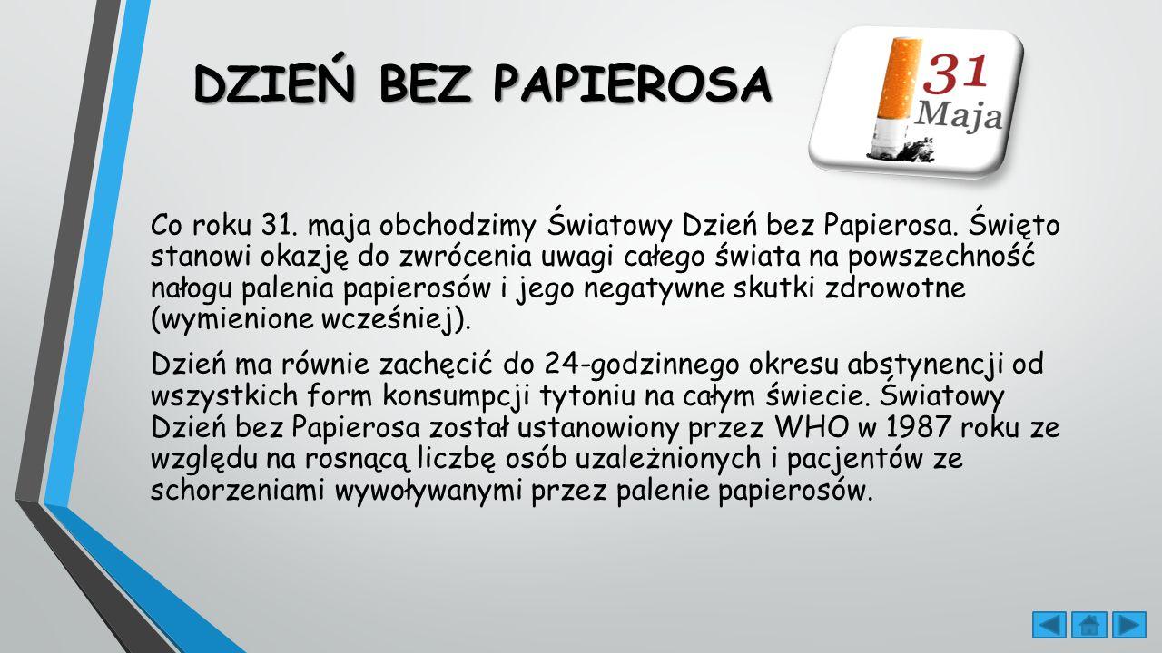 DZIEŃ BEZ PAPIEROSA DZIEŃ BEZ PAPIEROSA Co roku 31.