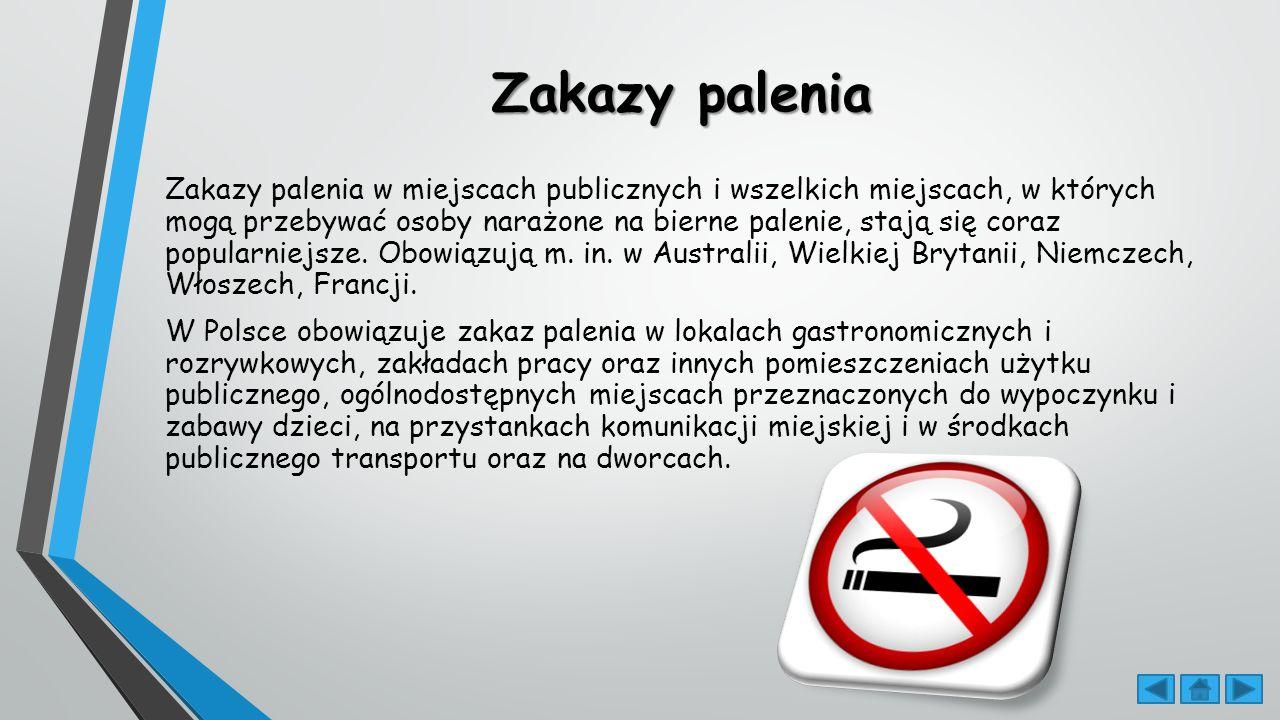Zakazy palenia Zakazy palenia w miejscach publicznych i wszelkich miejscach, w których mogą przebywać osoby narażone na bierne palenie, stają się coraz popularniejsze.