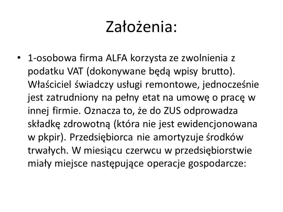 Założenia: 1-osobowa firma ALFA korzysta ze zwolnienia z podatku VAT (dokonywane będą wpisy brutto). Właściciel świadczy usługi remontowe, jednocześni
