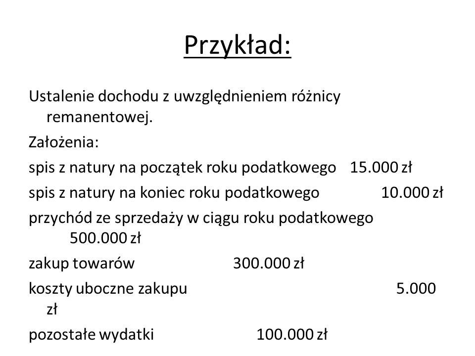 Przykład: Ustalenie dochodu z uwzględnieniem różnicy remanentowej. Założenia: spis z natury na początek roku podatkowego 15.000 zł spis z natury na ko