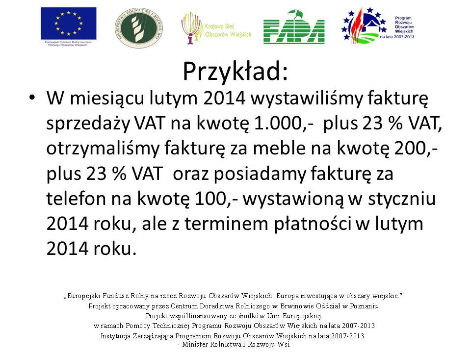 Przykład: W miesiącu lutym 2014 wystawiliśmy fakturę sprzedaży VAT na kwotę 1.000,- plus 23 % VAT, otrzymaliśmy fakturę za meble na kwotę 200,- plus 2