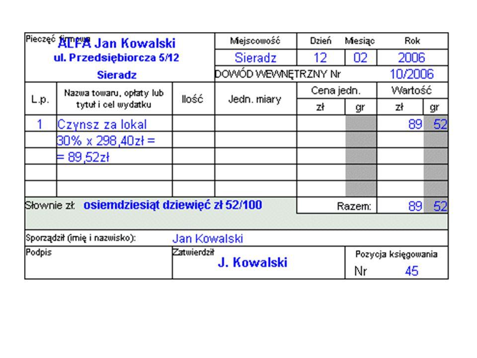 Zauważmy, że Jan Kowalski podpisał się jako zatwierdzający, a pole podpis pozostawił puste - jest to oczywiste, bo sam ten dokument wystawił, a jako właściciel swojej firmy sam dokument zatwierdził.