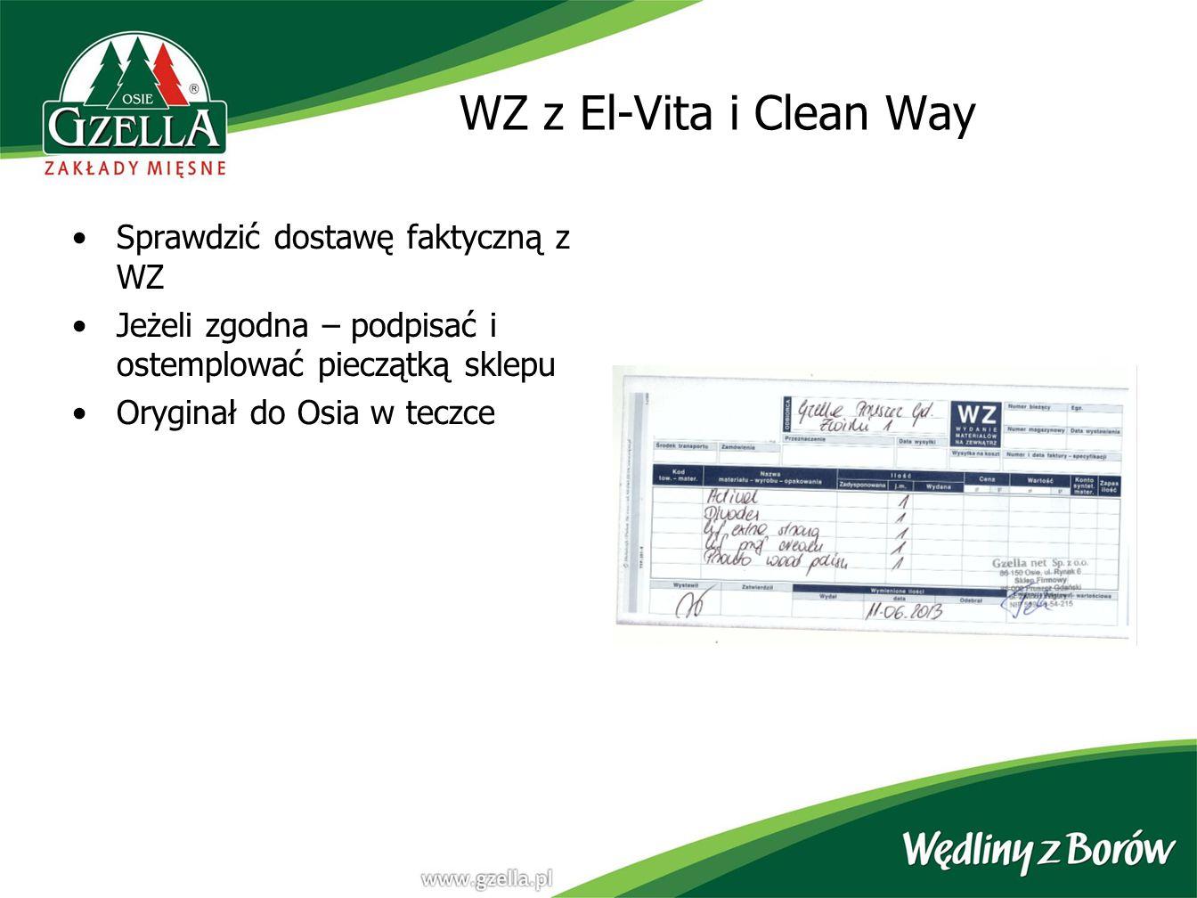 WZ z El-Vita i Clean Way Sprawdzić dostawę faktyczną z WZ Jeżeli zgodna – podpisać i ostemplować pieczątką sklepu Oryginał do Osia w teczce