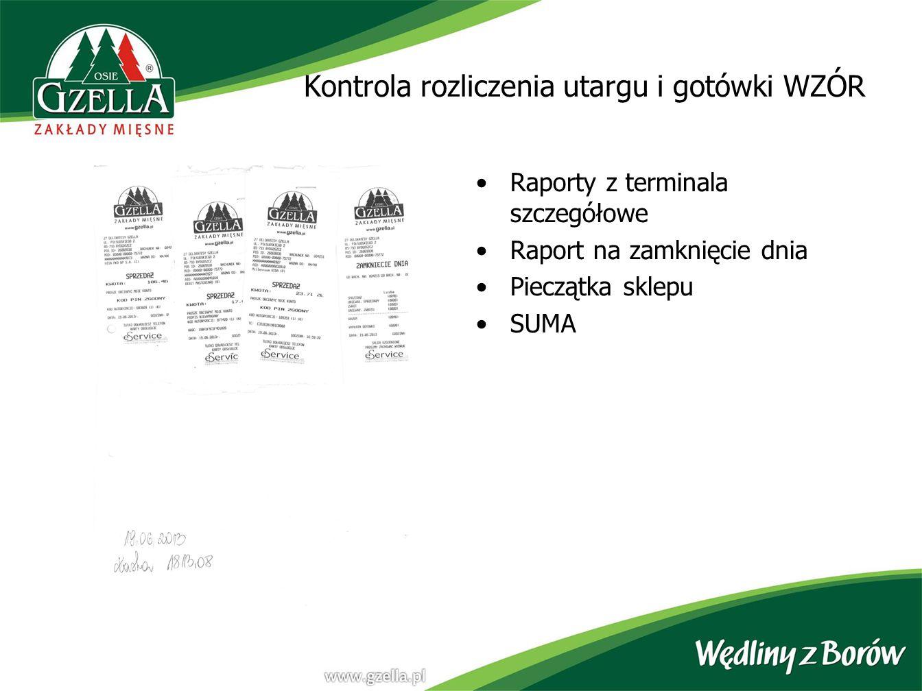 Kontrola rozliczenia utargu i gotówki WZÓR Raporty z terminala szczegółowe Raport na zamknięcie dnia Pieczątka sklepu SUMA