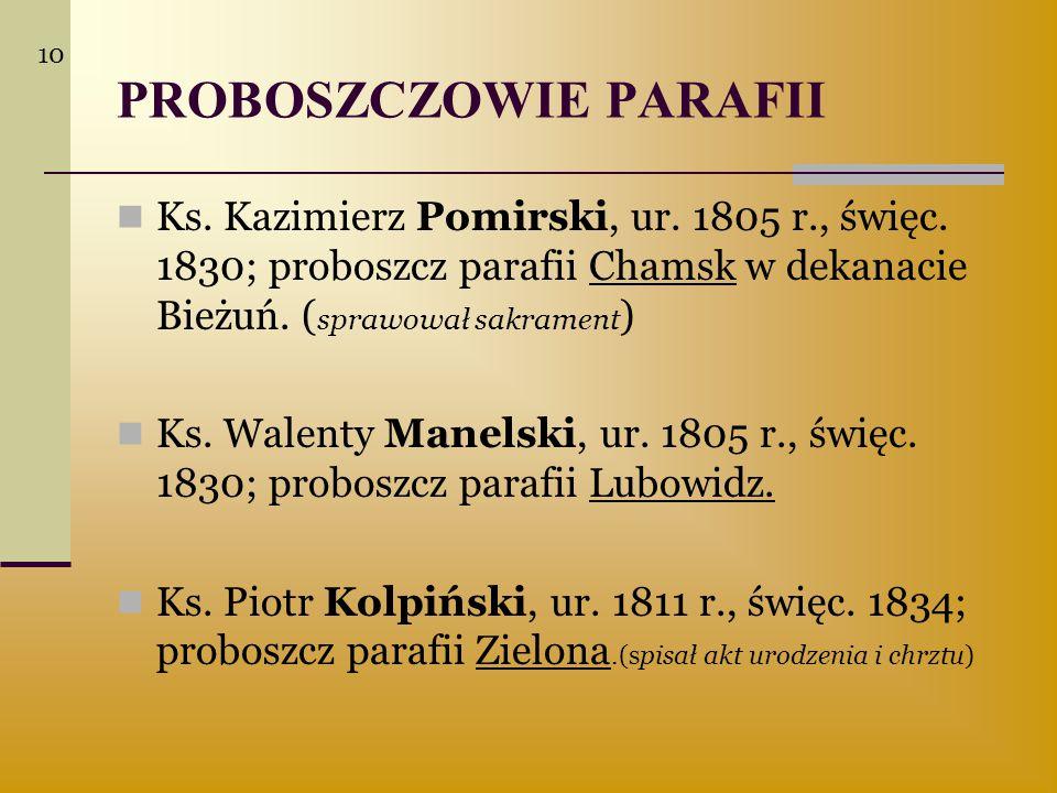 PROBOSZCZOWIE PARAFII Ks. Kazimierz Pomirski, ur. 1805 r., święc. 1830; proboszcz parafii Chamsk w dekanacie Bieżuń. ( sprawował sakrament ) Ks. Walen