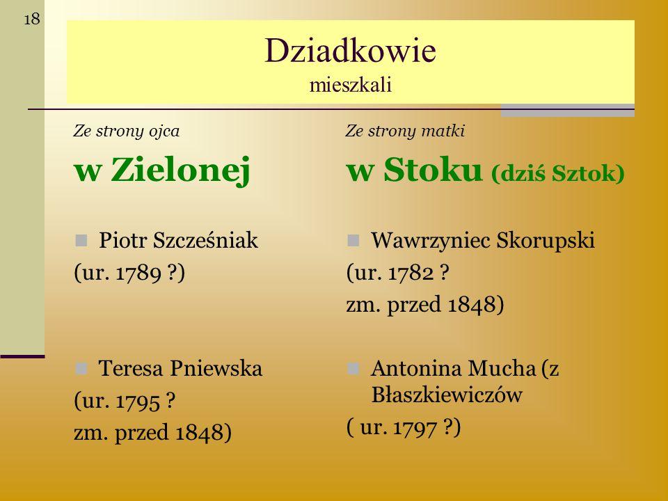 Dziadkowie mieszkali Ze strony ojca w Zielonej Piotr Szcześniak (ur. 1789 ?) Teresa Pniewska (ur. 1795 ? zm. przed 1848) Ze strony matki w Stoku (dziś