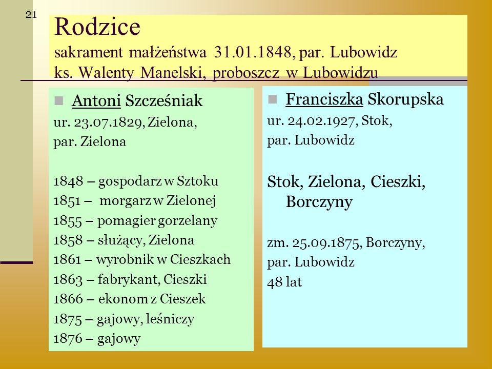 Rodzice sakrament małżeństwa 31.01.1848, par. Lubowidz ks. Walenty Manelski, proboszcz w Lubowidzu Antoni Szcześniak ur. 23.07.1829, Zielona, par. Zie