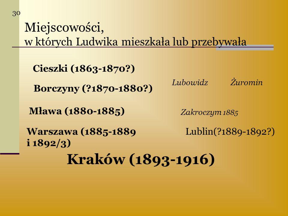 Miejscowości, w których Ludwika mieszkała lub przebywała Cieszki (1863-1870?) Borczyny (?1870-1880?) LubowidzŻuromin Mława (1880-1885) Zakroczym 1885