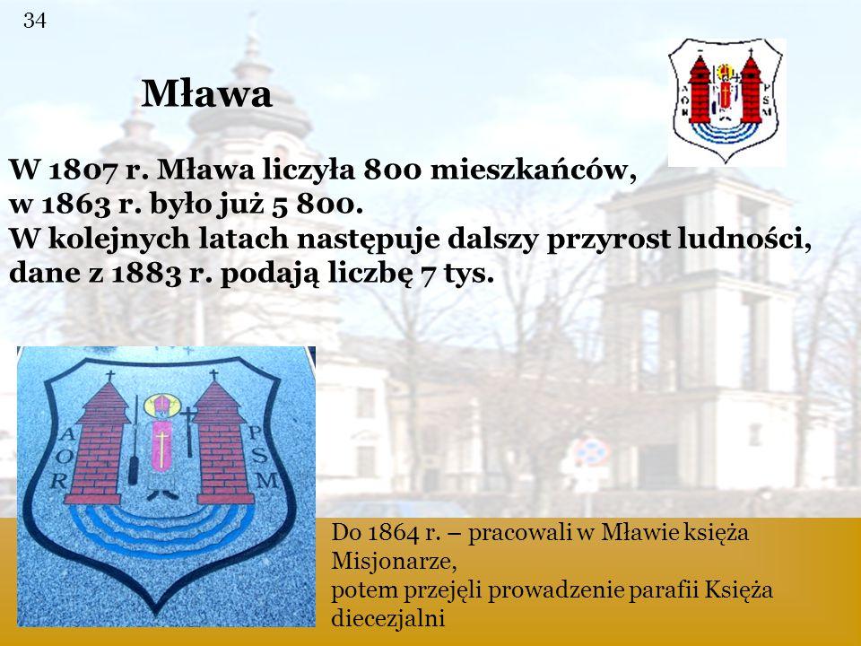 Mława Do 1864 r. – pracowali w Mławie księża Misjonarze, potem przejęli prowadzenie parafii Księża diecezjalni W 1807 r. Mława liczyła 800 mieszkańców