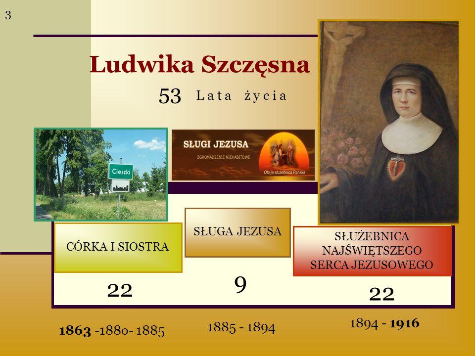 CÓRKA I SIOSTRA SŁUGA JEZUSA SŁUŻEBNICA NAJŚWIĘTSZEGO SERCA JEZUSOWEGO 22 9 53 L a t a ż y c i a Ludwika Szczęsna 1863 -188o- 1885 1885 - 1894 1894 -