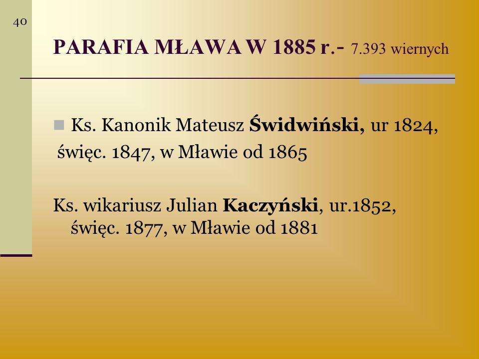 PARAFIA MŁAWA W 1885 r.- 7.393 wiernych Ks. Kanonik Mateusz Świdwiński, ur 1824, święc. 1847, w Mławie od 1865 Ks. wikariusz Julian Kaczyński, ur.1852