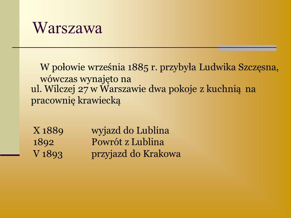 Warszawa ul. Wilczej 27 w Warszawie dwa pokoje z kuchnią na pracownię krawiecką W połowie września 1885 r. przybyła Ludwika Szczęsna, wówczas wynajęto