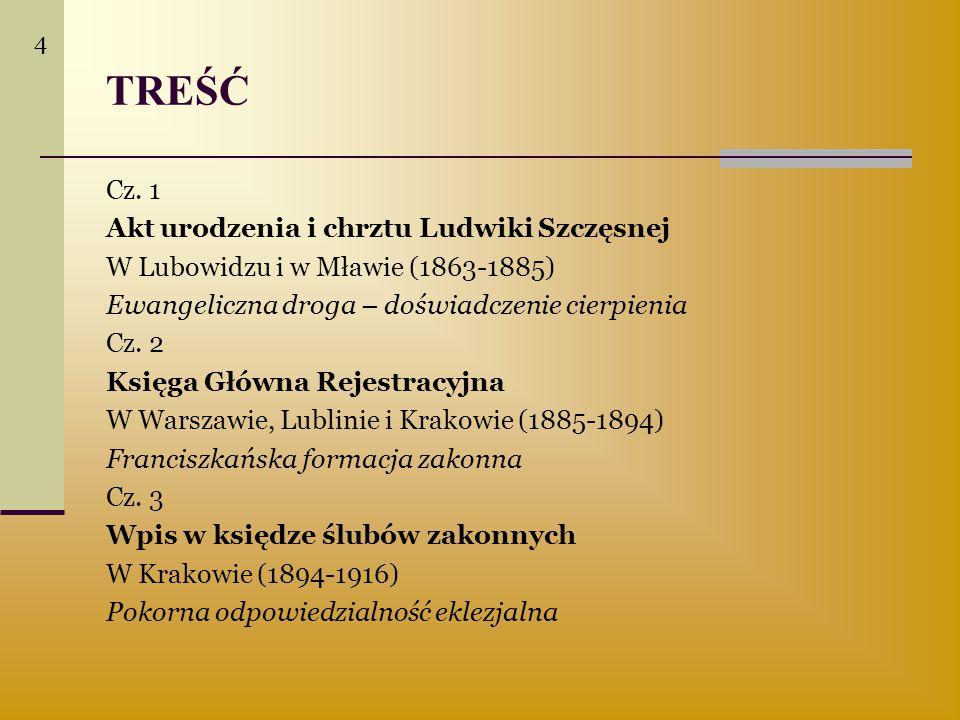 TREŚĆ Cz. 1 Akt urodzenia i chrztu Ludwiki Szczęsnej W Lubowidzu i w Mławie (1863-1885) Ewangeliczna droga – doświadczenie cierpienia Cz. 2 Księga Głó