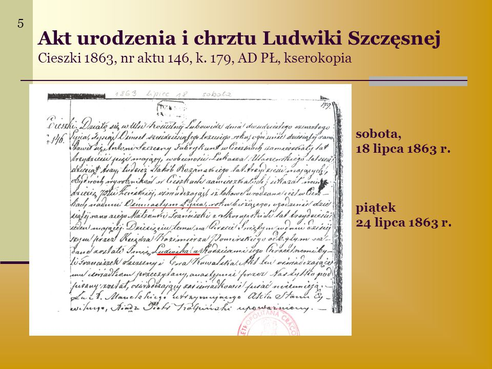 Akt urodzenia i chrztu Ludwiki Szczęsnej Cieszki 1863, nr aktu 146, k. 179, AD PŁ, kserokopia sobota, 18 lipca 1863 r. piątek 24 lipca 1863 r. 5